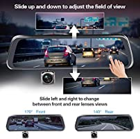 CHICOM Mirror Dash Cam,Backup Camera 10 1080P Touch Screen Dash Camera 350/° Rotating Front Camera and 140/°Wide Angle Full HD Waterproof Rear View Reversing Camera