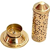 Odishabazaar Dhoop Golden Elegant Tower Stand for Dhoop Brass Golden 18 cm