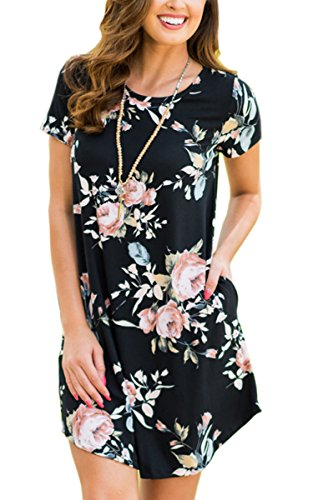 ECOWISH Womens Floral Print Striped Casual Short Sleeve T-shirt A-line Midi Dress