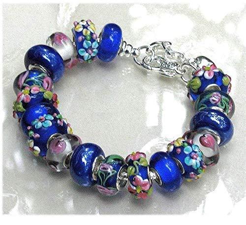 - Royal Blue Pink Heart Flower Murano Glass Bead Charm Bracelet