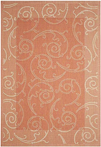 Courtyard Collection ZY2665-3202 Terracotta and Natural Indoor/Outdoor Area Rug (9' x 12'), Home Decor Area Rugs Runner for Bedroom Dining Room Living Room