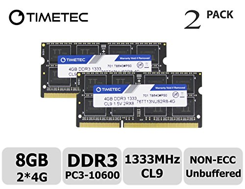 Timetec Hynix IC 8GB KIT (2x4GB) DDR3 1333MHz PC3-10600 Non ECC Unbuffered 1.5V CL9 2Rx8 Dual Rank 204 Pin Sodimm Laptop Notebook Computer Memory Ram Module Upgrade (Low Density 8GB (2x4GB))