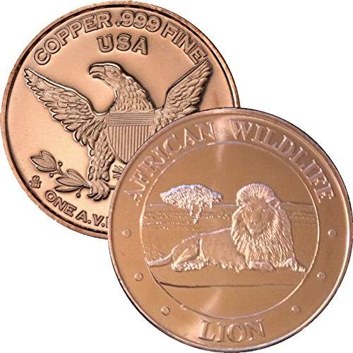 African Wildlife Series 1 oz .999 Pure Copper Round/Challenge Coin (Lion)