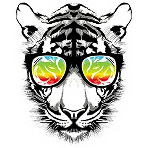 Umhängetasche/Tasche-Vintagelook mit Wildkatzen-Neon-Druck: Retro Tiger cooler Look