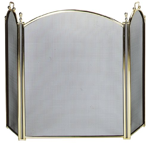 (Uniflame 3 Fold Large Diameter Polished Brass Screen with Woven Mesh)