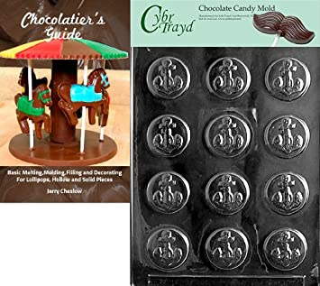 Clear CybrtraydAnchor Mints Nautical Chocolate Mold with Chocolatiers Bundle Includes 50 Cello Bags and 50 Blue Twist Ties 9x12