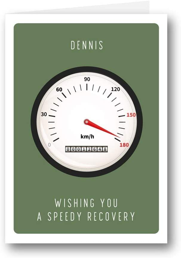Personalised Card Wishing You a Speedy Recovery Car Cute Get Well Soon 819