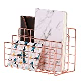 Simmer Stone Desktop Letter Sorter, Organizer for Mails Books Files Brochures Postcards, 3 Slot, Rose Gold/Copper
