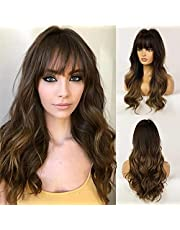 """Esmee 24"""" Brown wig Synthetic Wigs for Women Dark Roots Long Wig with Bangs Ombre Wavy Hair halloween party Realistic Simulation Scalp Middle"""