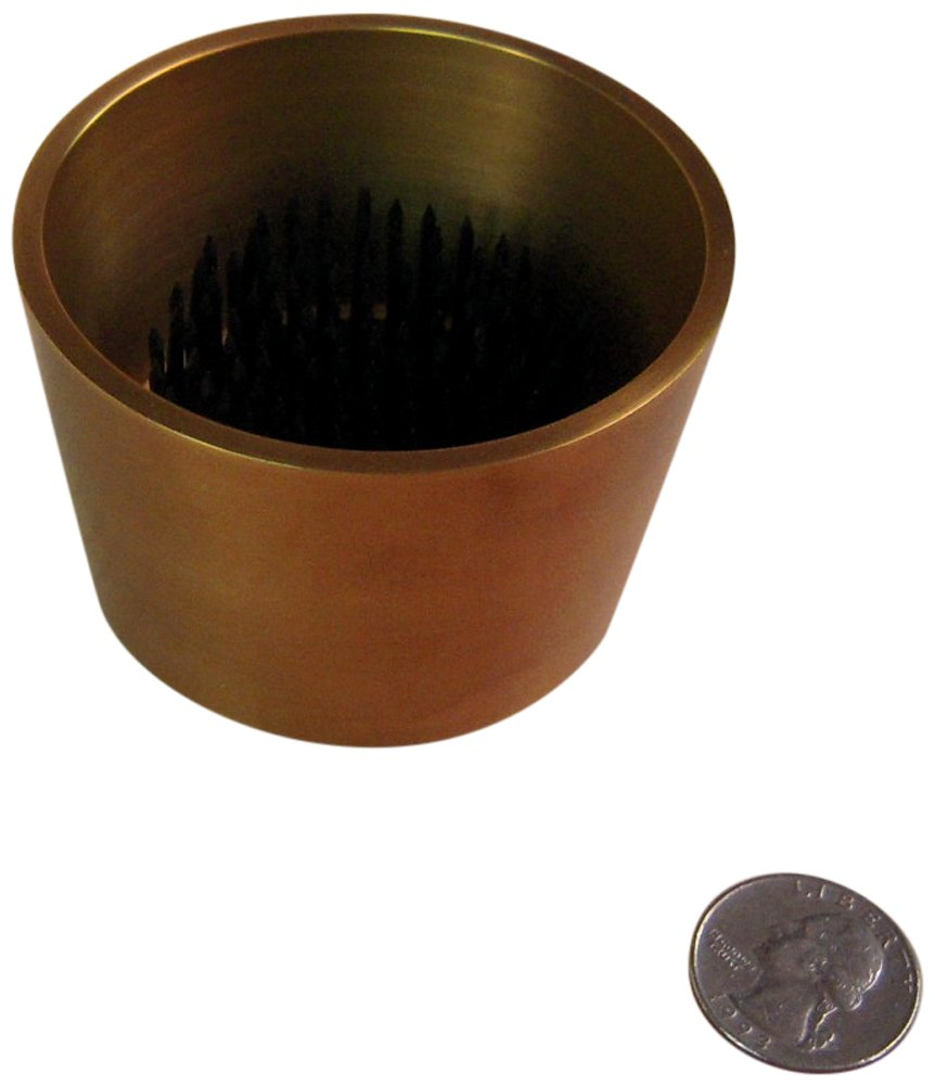 JWL (1) Solid Brass Water Holding Ikebana Flower Cup 3'' Tapered Antique Brass Color Pin Frog Holder