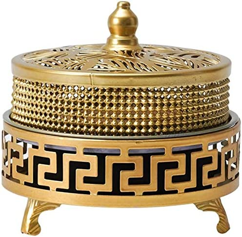 Caja de Bobina bobinas de Hierro Estufa de sándalo Quemador de Incienso Anti-Mosquito con Tapa,Oro