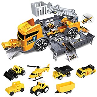 LBLA Construction Truck Toys Set,Toys for 3 Years Old Boys,Transport Car Carrier Truck with Excavator,Dumper,Bulldozer,Helicopter etc,Car Toy Set for 3 4 5 Years Old Toddlers Kids Boys