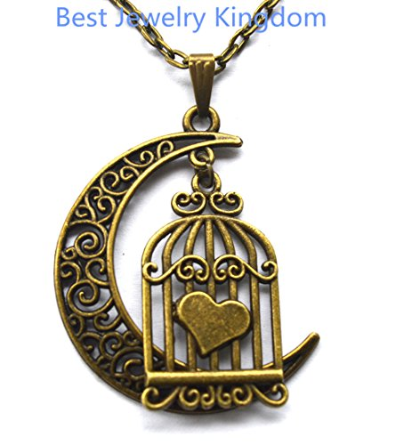 (Modern Crescent Moon Necklace, Moon Necklace,Birdcage Necklace SMALL Bronze Birdcage Jewelry Brass Birdhouse Pendant Necklace Bird Necklace Bird Jewelry Cage Necklace Bridesmaid Gift)