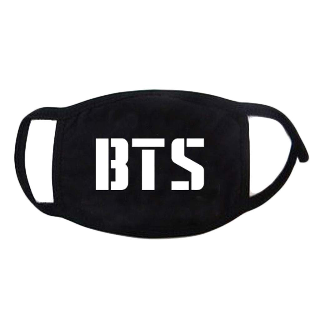 Hacloser Kpop Mouth Mask Fashion BTS Black Cotton Letters Print Soft Unisex Fans Face Muffle Respirator Mask Cool