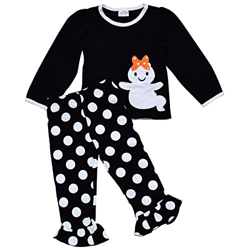 Unique Baby Girls 2 Piece Ghost Halloween Outfit (3T, Black)