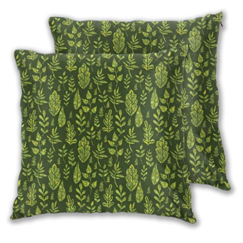Wxcun Decor Pillow Covers Polyester Plush Square Throw Pillow Sofa Cushion Covers Set, Patterned Green Leaves Nature Inspired Composition Fresh Trees Woodland,Couch Pillowcase Set of 2 Pack 20IN
