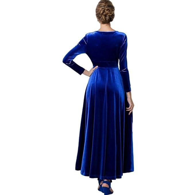 Rcool Frauen heißen Samtkleid Plus Größe Winter Knöchel Maxi Tuniken lässig  Roben Fashion V-Ausschnitt Rock: Amazon.de: Bekleidung