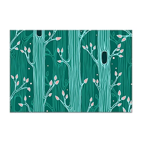 yyoungsell Placemats for Dining Table Jade Forest Durable Kitchen Table Mats Washable Heat Resistant Stain-Resistant Non Slip -