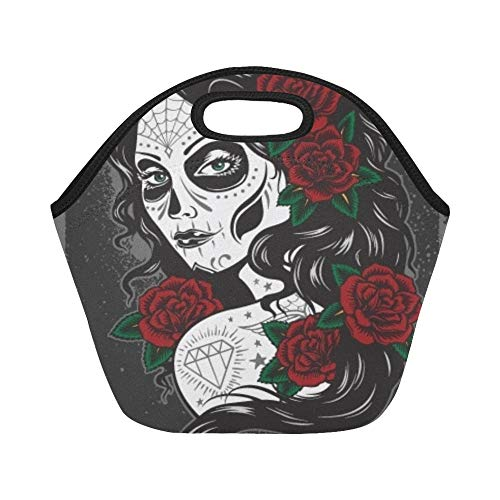 Insulated Neoprene Lunch Bag Day Dead Girl Large Size Reusable Thermal Thick Lunch Tote Bags For Lunch Boxes For Outdoors,work, Office, School ()