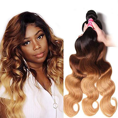 Sunber Hair Brazilian Ombre Virgin Hair Body Wave Weft Mixed Bundles 100% Human Hair Extensions #1b/4/27 Color (T1B/4/27,20 22 24)