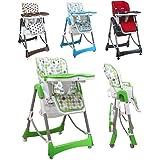 Monsieur Bébé ® Chaise haute enfant pliable, réglable hauteur, dossier et tablette - 4 coloris - Norme NF EN14988 - Ptit pois