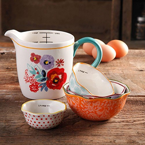 The Pioneer Woman Flea Market 5-Piece Prep Set, 4-Piece Measuring Bowls with 4-cup Measuring Cup