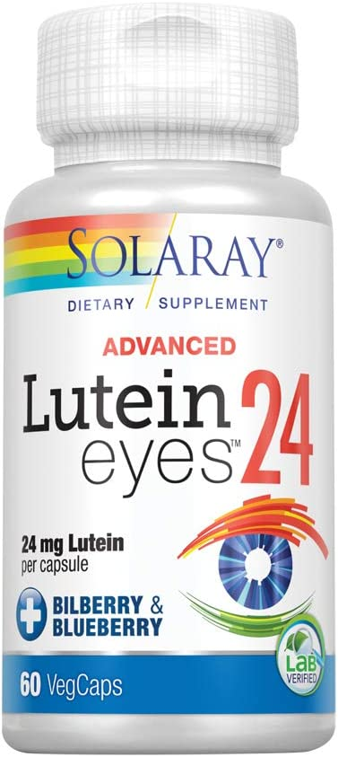 Solaray Advanced Lutein Eyes, 24mg | Eye & Macular Health Support Supplement w/Naturally Occurring Lutein | 60 CT