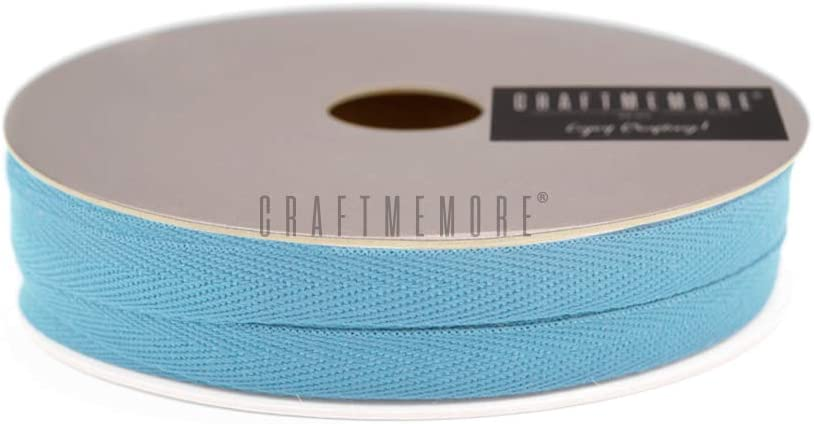 MP12 Azure Blue CRAFTMEMORE 3//8 Inch Twill Tape Fabric Ribbons Webbing Herringbone Twill Bias Binding Tape for Clothes Sewing Craft Trim Lace 36 Yards