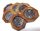6 Set Round Thai Style Bamboo Woven Mango Wood Coasters Cup Holder New Arrival