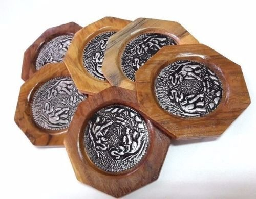 6 Set Round Thai Style Bamboo Woven Mango Wood Coasters Cup Holder New - York Galleria