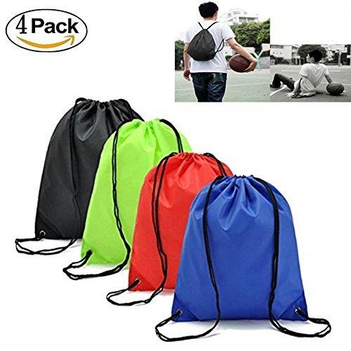 IDS Set of 4 Waterproof Drawstring Bag Home Travel Storage Use,Green & Blue & Black & Red