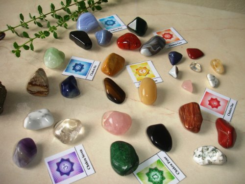 28 Natural Large Tumbled Stones Basic Chakra Balancing Healing Kit Set Reiki & Using Feng Shui