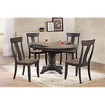 Iconic Furniture 5 Piece Round Panel Back Dining Set 42 X 60 Antiqued Grey Stone Black