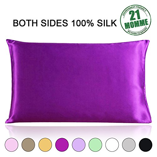 Satin Zippered (100% Pure Natural Mulberry Silk Pillowcase Queen Size, 21 Momme 600 Thread Count Hypoallergenic Both Sides For Hair Soft Breathable With Hidden Zipper (20×30 inches, Purple ))