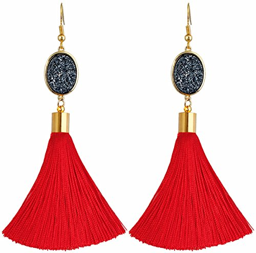 (TUMBEELLUWA Tassel Dangle Earrings Healing Crystal Quartz Druzy Fringe Thread Drop Earring Handmade Jewelry for Women,Black Druzy)