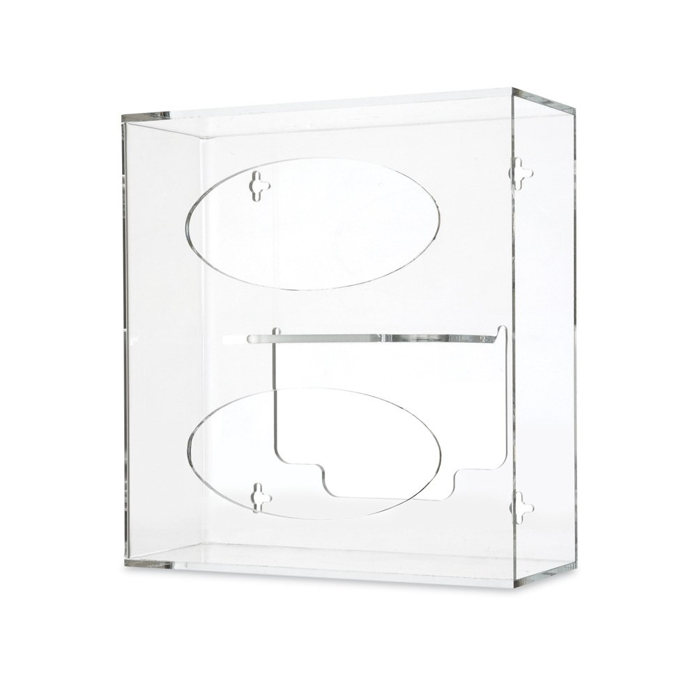 Clearform ML7038 Clear Acrylic Side Loading Glove Dispenser, Benchtop, Vertical, Double