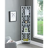 None White Finish Metal Wall Corner 4-Tier Bookshelf Bookcase