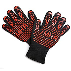 BBQ Grilling Cooking Gloves 932°F Extreme Heat Resistant Forearm Protection Long Cuff Silicone Grip Baking and Oven Mitts Fire Place Camping Gloves