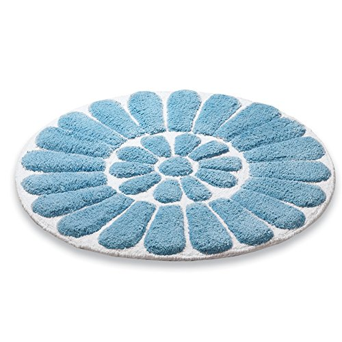 Round Plush Flower Bath Blue