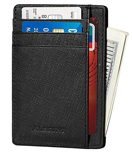 ALBRINT Rfid Blocking Minimalist Wallet Genuine Leather Slim Front Pocket Card Case (Black-D01)