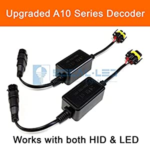 SOCAL-LED 2x A10 H11 H8 EMC Headlight Kit CANBUS HID LED Decoder Anti-Flicker Error Canceller Relay Resistor Adapter