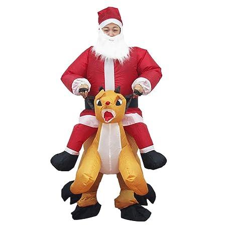 Traje inflable de Papá Noel con disfraz de ciervo: Amazon.es: Hogar