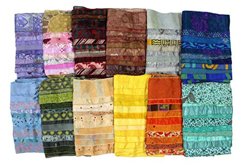(Mango Gifts Women's Lot of 10 Silk Sari Fabric Handmade Scarves Scarfs Wholesale Lot)