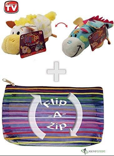 """Flipzee 5"""" & FlipaZip COMBO  Huggable Flip a Zoo Stuffed Ani"""
