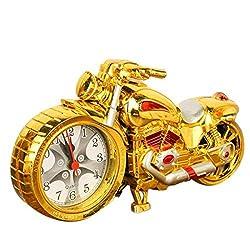 Creative Motorcycle Motorbike Pattern Alarm Clock Desk Clock Creative Home Birthday Gift Cool Clock (Wheel Type was Randomly)