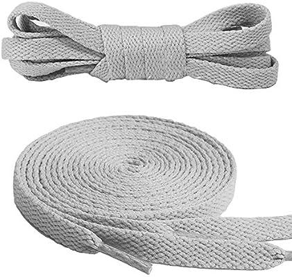 Fabmania Cordones de algodón para Adidas Vans Nike, Converse 8 mm de ancho Blanco 110 cm Hecho en Inglaterra