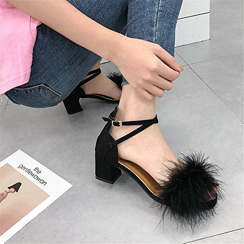 Maomao Chaussures Sandales pour Une HUAN Chaussures Talons Été Party Givré Nouveau amp; Bloc Mode Femmes Robe Talon Soirée 4x40qfv