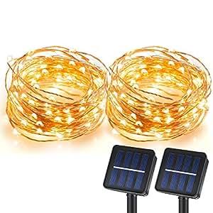 Amazon.com : CREATIVE DESIGN 100 LED Solar String Lights, 33Ft Copper Wire Lights, Waterproof ...