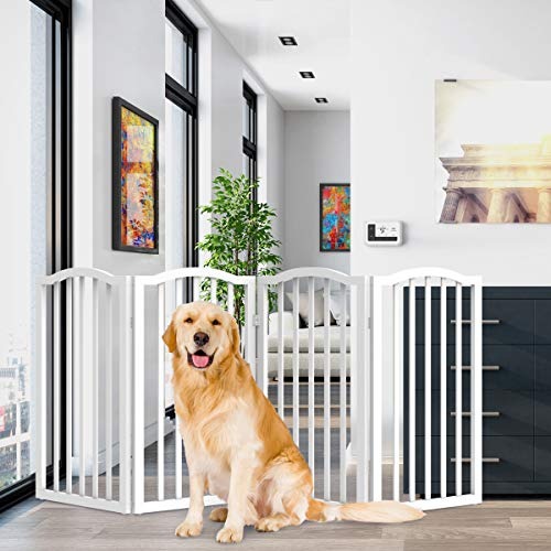 PETMAKER Freestanding Pet Gate-4 Panel White, Scalloped Top Folding Fence for Doorways, Halls & Stairs- Expandable Divider-Great for Dogs & Puppies