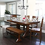 6-Piece Solid Wood Dining Set, Antique Brown